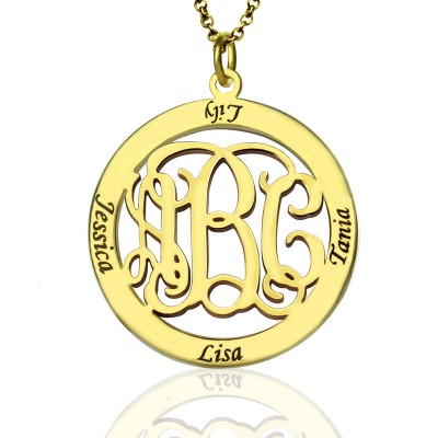 Family Monogram Name Necklace In 18ct Gold Plated - By The Name Necklace;