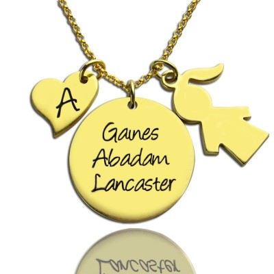 Family Names Pendant For Mother With Kids Charm In 18ct Gold Plated - By The Name Necklace;