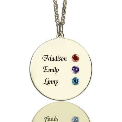Grandma's Disc Birthstone Necklace  - By The Name Necklace;