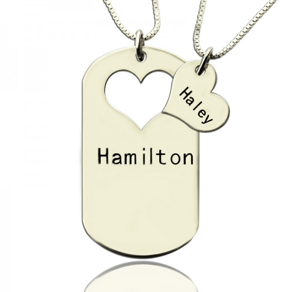 Couples Name Dog Tag Necklace Set with Cut Out Heart - By The Name Necklace;