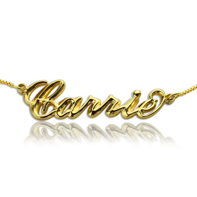 Personalised 3D Carrie Name Necklace 18ct Gold Plating - By The Name Necklace;