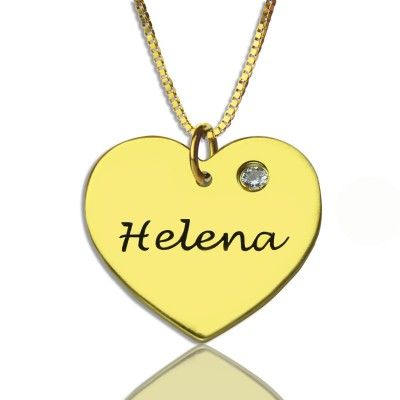 Simple Heart Necklace with Name  Birhtstone 18ct Gold Plated  - By The Name Necklace;