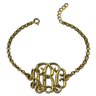 18ct Gold Plated Celebrity Monogram Bracelet - By The Name Necklace;
