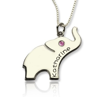 Good Luck Gifts - Elephant Necklace Engraved Name With My Engraved