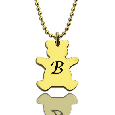 Cute Teddy Bear Initial Charm Necklace 18ct Gold Plated - By The Name Necklace;