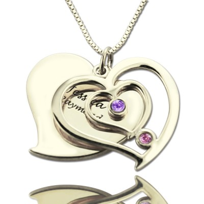 Personalised Couples Birthstone Heart Name Necklace  - By The Name Necklace;