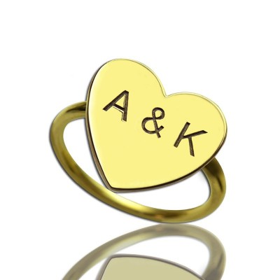 Engraved Sweetheart Ring with Double Initials 18ct Gold Plated With My Engraved