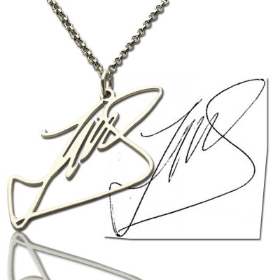 Custom Necklace with Your Own Signature Silver - By The Name Necklace;