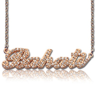 Rose Gold Plated Full Birthstone Carrie Name Necklace  - By The Name Necklace;