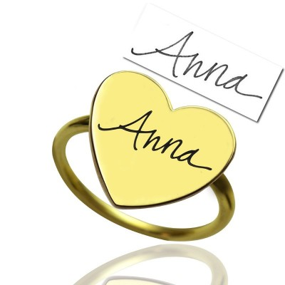 Gold Heart Signet Ring With Your Signature - By The Name Necklace;