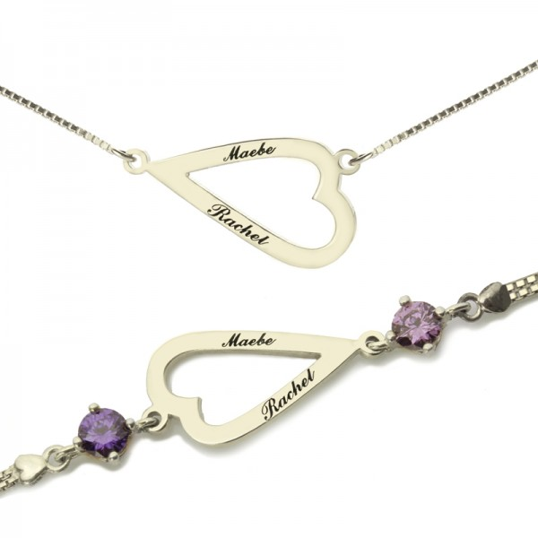 Love Jewellery Set- Open Heart Name Necklace  Bracelet - By The Name Necklace;