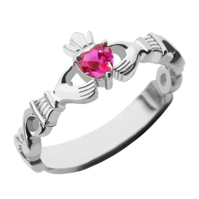 Ladies Claddagh Rings With Birthstone  Name White Gold Plated Silver  - By The Name Necklace;