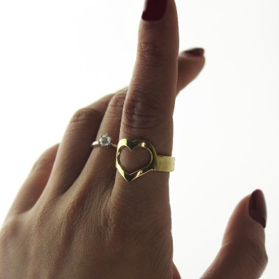 Custom Heart Couple's Promise Ring With Name Gold Plated Silver - By The Name Necklace;