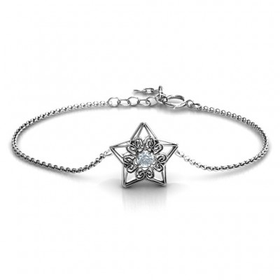 Personalised 3D Star Bracelet with Filigree Detailing - By The Name Necklace;