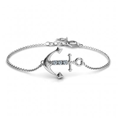 Personalised Anchor Bracelet with Three Stones  - By The Name Necklace;