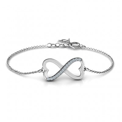 Personalised Double Heart Infinity Bracelet with Accents - By The Name Necklace;