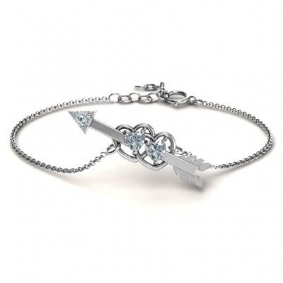 Double Heart with Arrow and Two Heart Stones Promise Bracelet  - By The Name Necklace;
