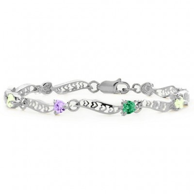 Personalised Embedded Hearts 1-8 Stones Bracelet  - By The Name Necklace;