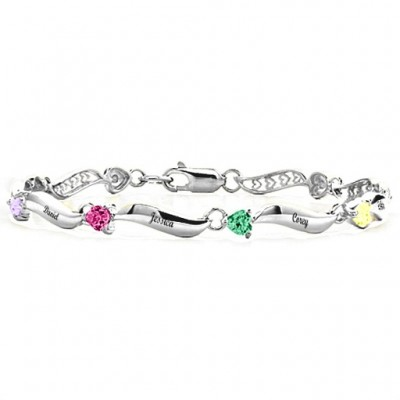 Personalised Engraved Bracelet with 1-8 Stones  With My Engraved
