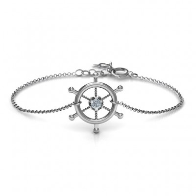 Personalised Ship's Wheel Bracelet - By The Name Necklace;