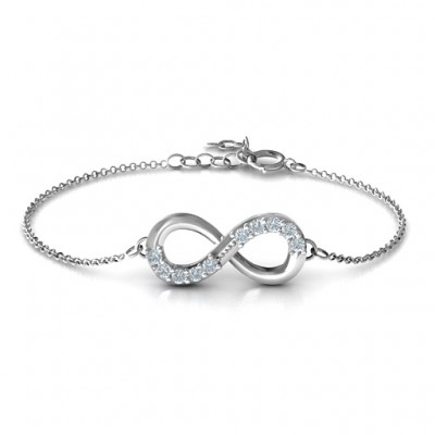 Sterling Silver Birthstone Accent Infinity Bracelet  - By The Name Necklace;