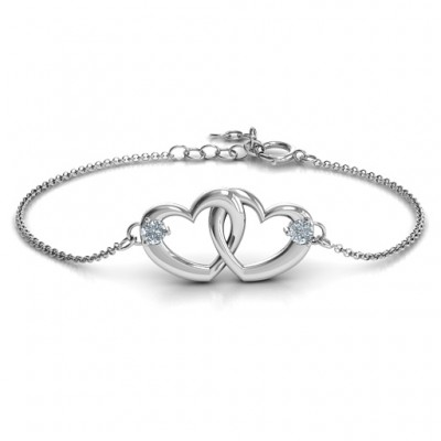 Sterling Silver Interlocking Heart Promise Bracelet with Two Stones  - By The Name Necklace;