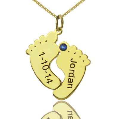 Birthstone Memory Baby Feet Charms with Date  Name 18ct Gold Plated  - By The Name Necklace;