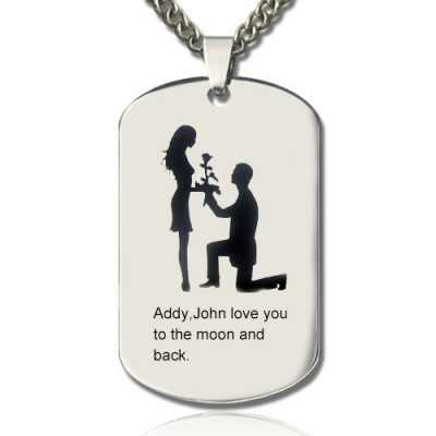 Marriage Proposal Dog Tag Name Necklace - By The Name Necklace;