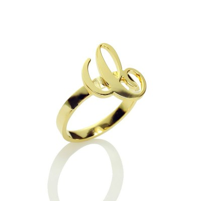 Personalised Carrie Initial Letter Ring 18ct Gold Plated - By The Name Necklace;