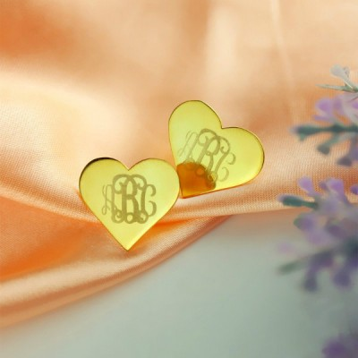 Heart Monogram Stud Earrings In Gold - By The Name Necklace;