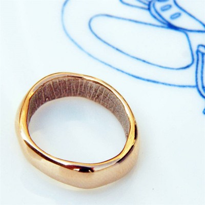 18ct Rose Gold Bespoke Fingerprint Wedding Ring - By The Name Necklace;