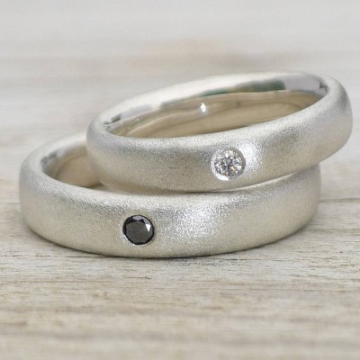Handmade Frosted Silver Diamond Wedding Rings - By The Name Necklace;
