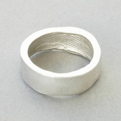 18ct White Gold Bespoke Fingerprint Ring - By The Name Necklace;