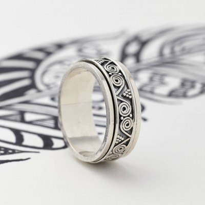 Mens Aztec Silver Spinning Ring - By The Name Necklace;