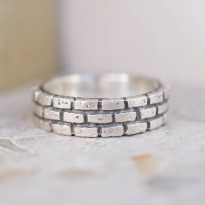 Brick Silver Ring - By The Name Necklace;