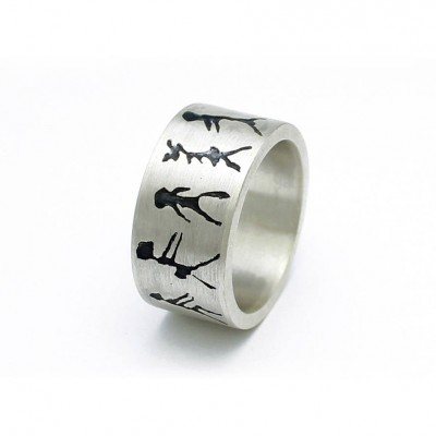 Capivara Cave Art Sterling Silver Band Ring - By The Name Necklace;
