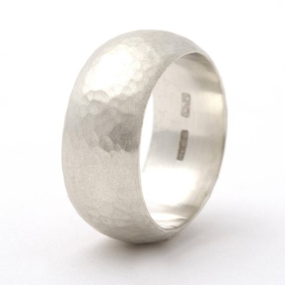 Chunky Sterling Silver Rounded Hammered Ring - By The Name Necklace;