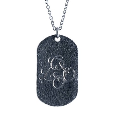 Personalised Oxydised Military Tag Necklace - By The Name Necklace;
