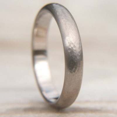 Hammered Wedding Ring In 18ct White Gold - By The Name Necklace;