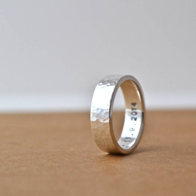 Hammered Silver Hidden Message Ring - By The Name Necklace;