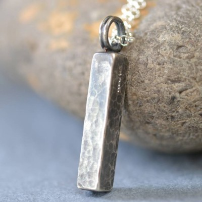Handmade Blacksmiths Silver Hammered Block Necklace - By The Name Necklace;