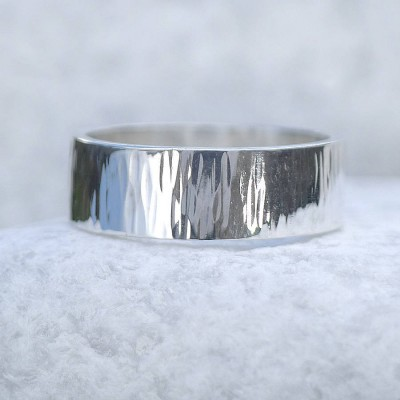 Hammered Silver Ring With Tree Bark Finish - By The Name Necklace;