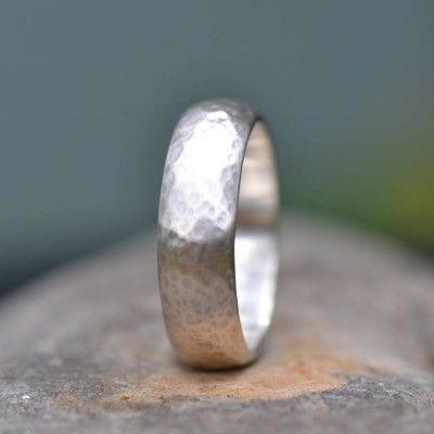 Handmade Silver Wedding Ring Lightly Hammered Finish - By The Name Necklace;