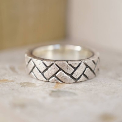 Herringbone Brick Silver Ring - By The Name Necklace;
