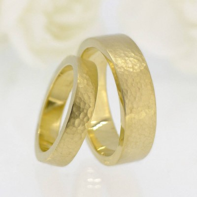 His And Hers Hammered Wedding Ring 18ct Gold Set - By The Name Necklace;