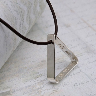 Mens Secret Message Silver Triangle Necklace - By The Name Necklace;