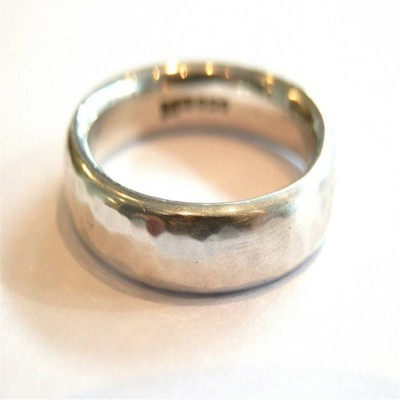 Mens Silver Hammered Ring - By The Name Necklace;