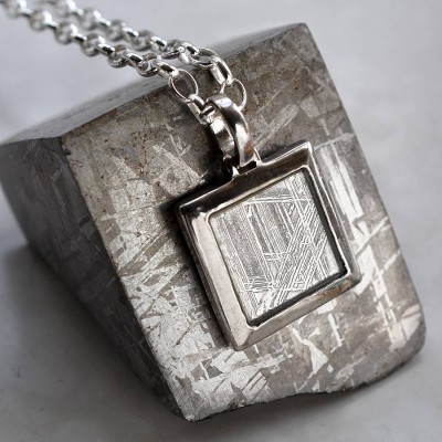 Meteorite And Silver Square Necklace - By The Name Necklace;