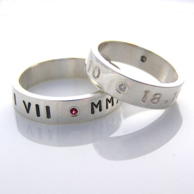 Silver Personalised Ring For Couple - By The Name Necklace;