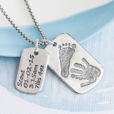 Dog Tag With Baby Prints And Birth Info Necklace - Two Pendants - By The Name Necklace;